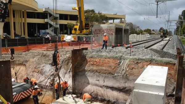 Underpass dug in weekend work blitz at new station site